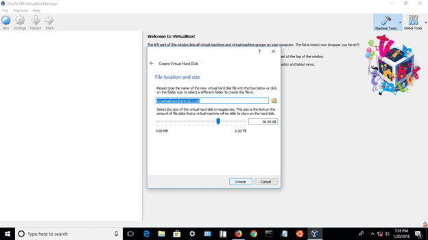 Specify a Disk Location and Size